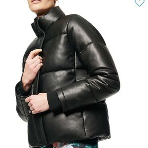 NWT Andrew Marc Faux-Leather Puffer Coat Large